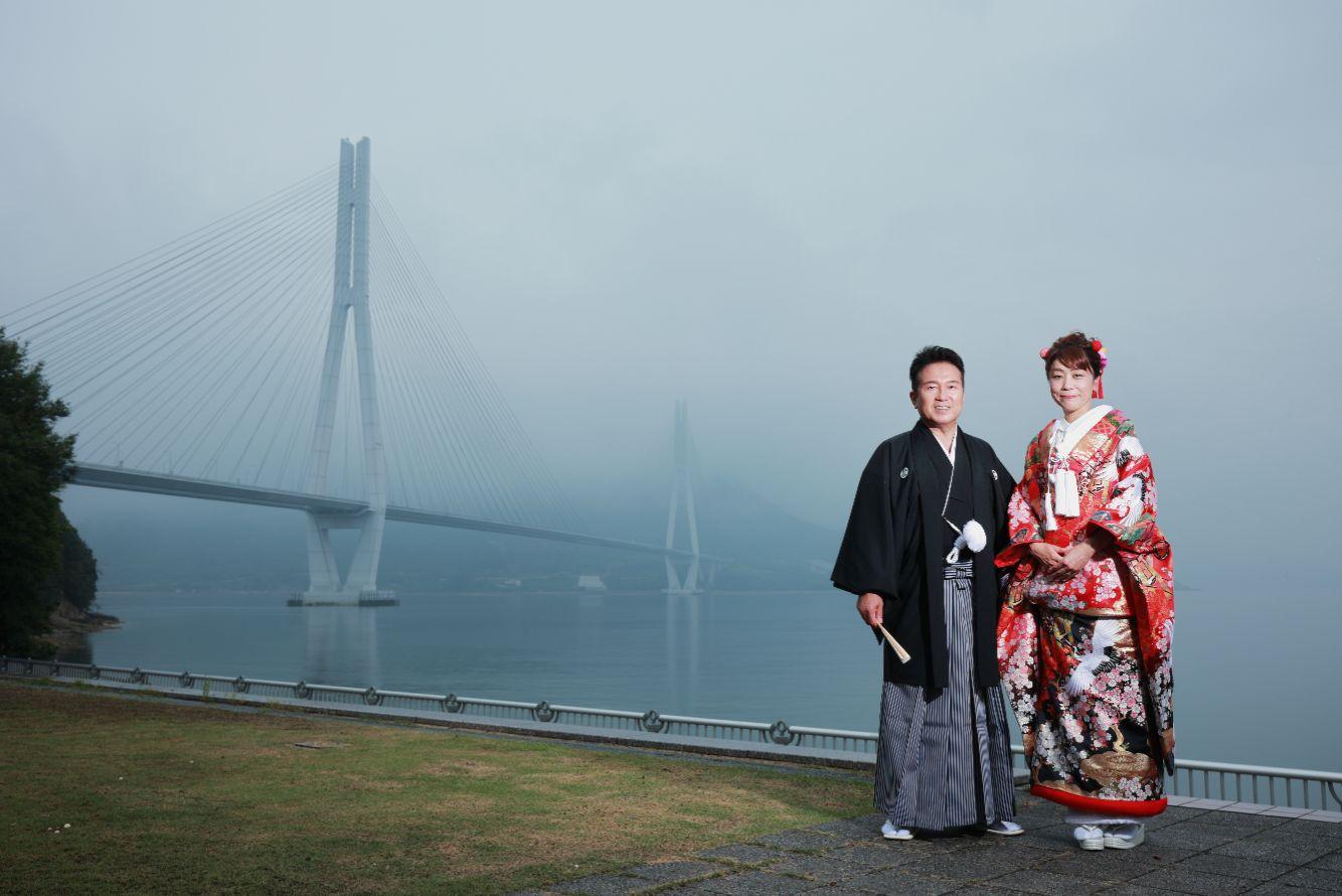 しまなみ海道の多々羅大橋にてフォトウェディング